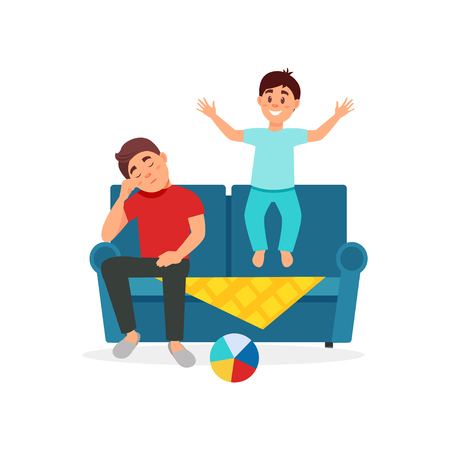 Tired father sitting on the couch next to the jumping son, parenting concept vector Illustration on a white background