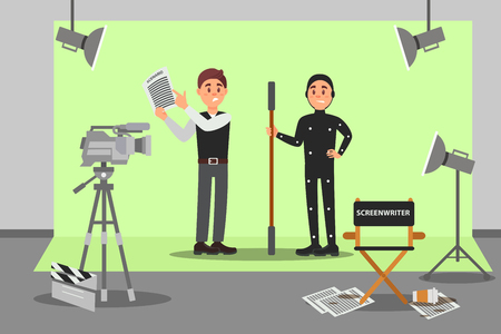 Screenwriter and actor working on the film, entertainment industry, movie making vector Illustration, web design