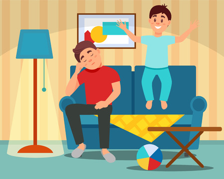 Tired father sitting on the couch next to the jumping son, parenting concept, room interior vector Illustration in flat style