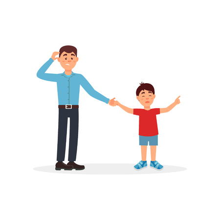 Father being tired with his son, parenting stress vector illustration on a white background.