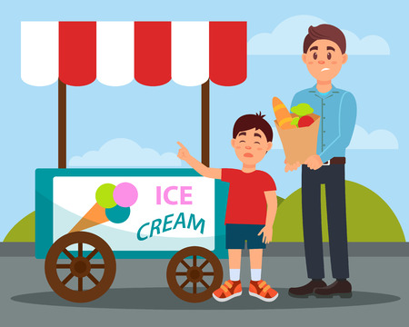 Capricious child asking his father to buy ice cream vector illustration in flat style. Ilustração