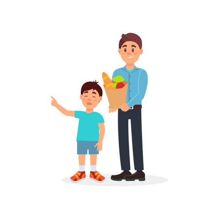 Father with shopping bag being tired with his capricious son, parenting stress vector Illustration on a white background