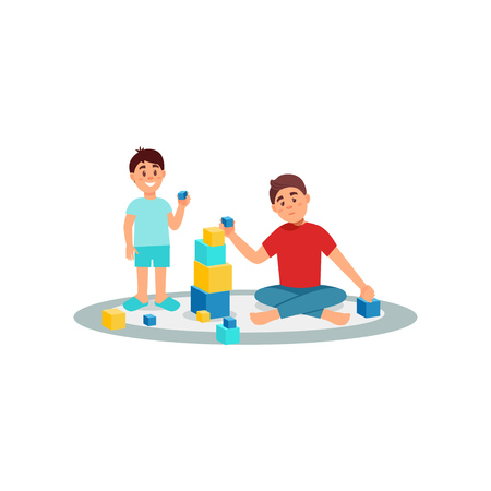 Tired father playing cubes with his son, parenting stress vector Illustration on a white background Stock fotó - 99663179