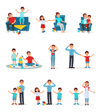 Tired parents and their children set, exhausted parents playing, reading and caring for their children vector Illustrations isolated on a white background. Ilustração