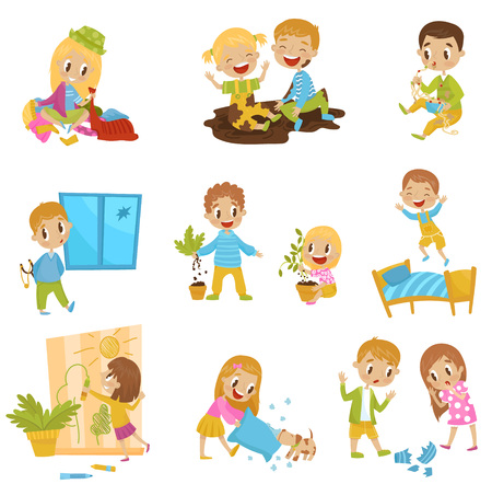 Cute little bully kids set, hoodlum cheerful children, bad child behavior vector Illustrations isolated on a white background.