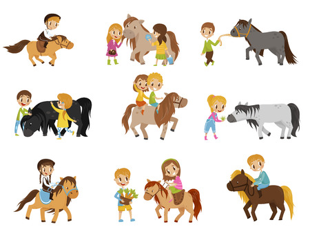Kleine kinderen rijden pony's en het verzorgen van hun paarden set, paardensport concept, vectorillustraties geïsoleerd op een witte achtergrond. Vector Illustratie