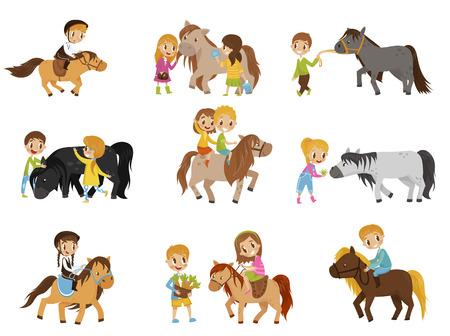Niños pequeños montando ponis y cuidando su conjunto de caballos, concepto de deporte ecuestre, ilustraciones de vectores aislados sobre fondo blanco. Ilustración de vector