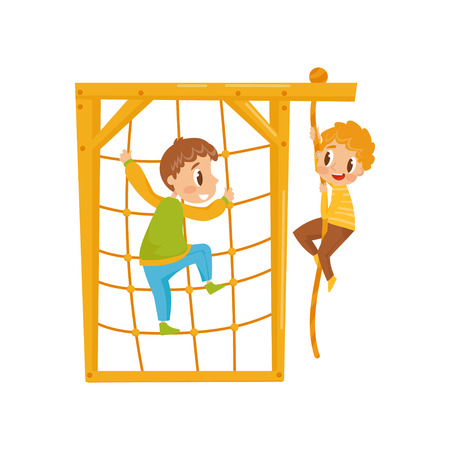Boys climbing net rope, kids on a playground vector Illustration isolated on a white background.