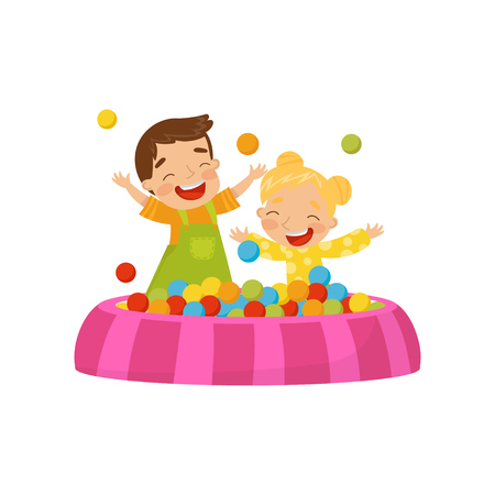 Happy boy and girl playing in a ball pit, kids on a playground vector Illustration isolated on a white background.