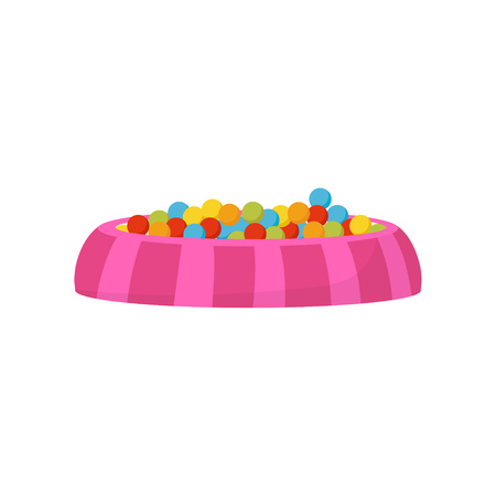 Ball pit, pool with colorful balls, kids playground element vector Illustration on a white background