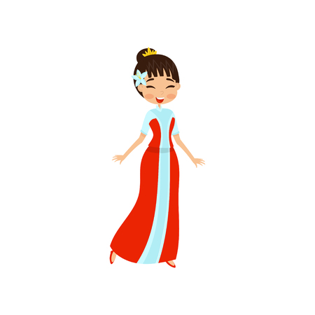 Beautiful little oriental princess in red dress vector Illustration isolated on a white background.