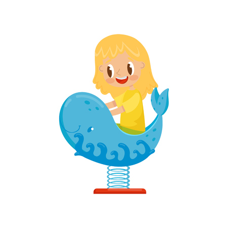 Girl having fun at spring seesaw whale, kid on a playground vector Illustration on a white background Stock Photo
