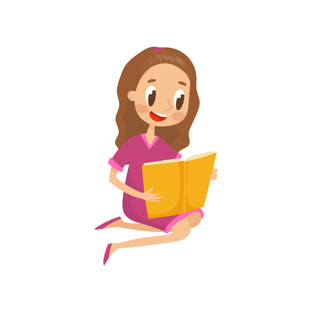 Young woman sitting on the floor and reading a book vector Illustration isolated on a white background.