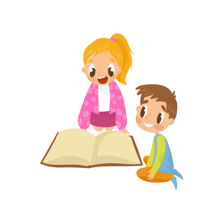 Cute little kids sitting on the floor and reading a book, early development concept vector Illustration isolated on a white background. Иллюстрация