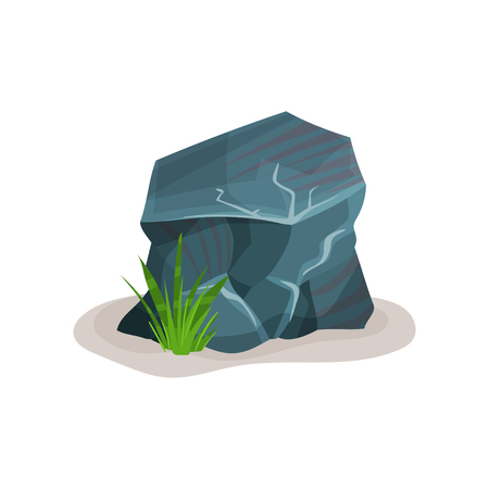Gray rock stone, design element of natural landscape vector Illustration on a white background Stock Photo