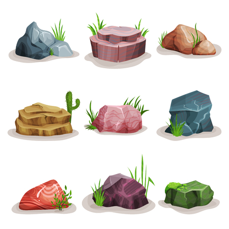 Rock stones set, colorful boulders with grass, design element of natural landscape vector Illustrations on a white background Stock Photo