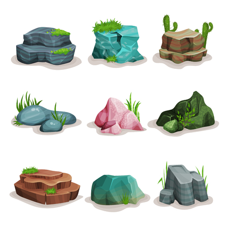 Rock stones set, boulders with grass, design element of natural landscape vector Illustrations on a white background