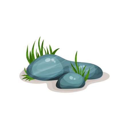 Smooth rounded rock stones with green grass, design element of natural landscape vector Illustration on a white background