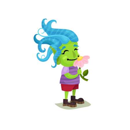 Cute girl troll with blue hair and green skin sniffing a pink flower