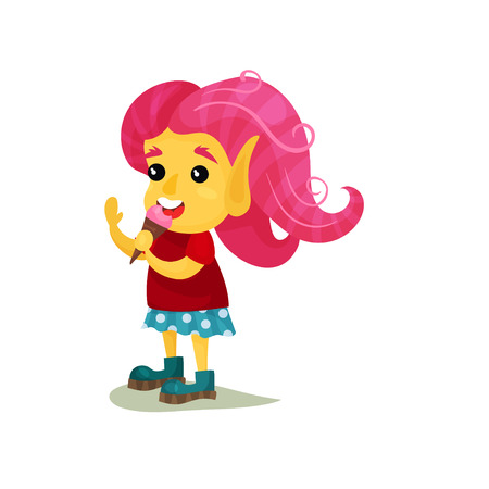 Lovely smiling girl troll with pink hair, funny fairy tale character vector Illustrations on a white background