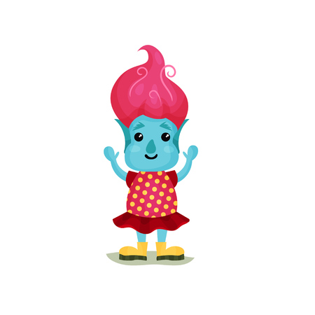 Cute girl troll with pink hair and blue skin, funny fairy tale character vector Illustrations isolated on a white background