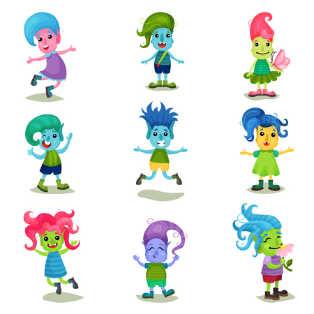 Cute troll characters set, funny creatures with different colors of skin and hair vector Illustrations on a white background