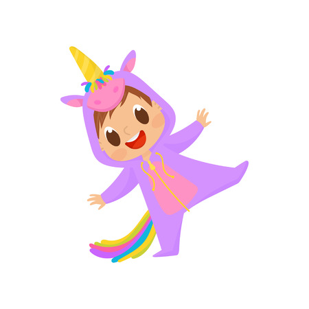 Lovely baby in unicorn costume having fun vector Illustration on a white background