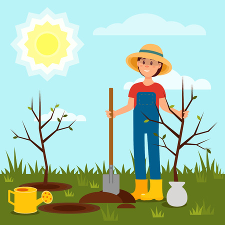 Cheerful girl planting tree. Young woman working in garden. Blue sky and bright sun. Natural landscape. Flat vector design Stock Photo