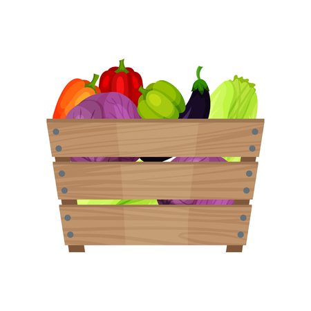Ripe and fresh vegetables in brown wooden box. Organic products. Farm crop. Natural and healthy food. Flat vector icon Stock Photo