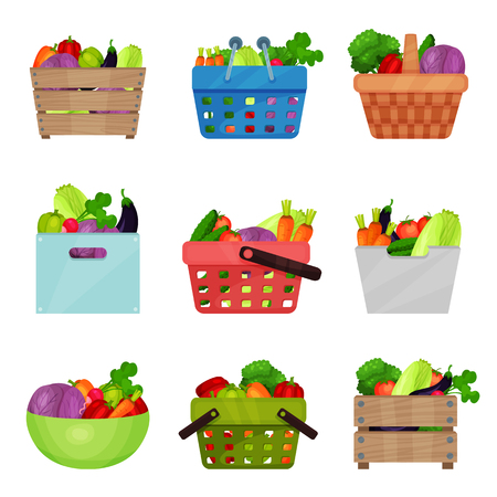 Flat vector set of wooden boxes, bowl, containers, shopping and picnic baskets with fresh vegetables. Natural and healthy food