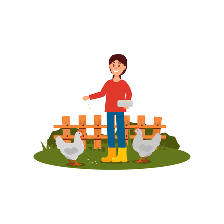 Happy farmer woman feeding chickens. Young girl in sweater, jeans and rubber boots. Wooden fence on background. Flat vector design