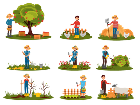 Flat vector set of farmer characters working outdoor. People engaged in gardening. Man picking apples. Woman feeding farm animals 일러스트