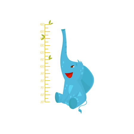 Kids measuring ruler and cute blue elephant. A wild animal with big ears and a long trunk. Colorful flat design Stock Photo