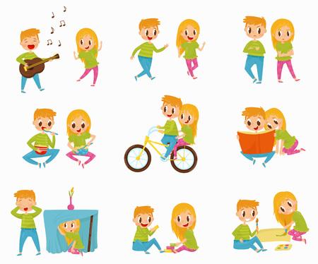 Vector plate sertie de petit garçon et fille dans différentes actions. Faire du vélo, lire un livre, prendre le petit déjeuner, jouer à cache-cache Banque d'images - 100479382