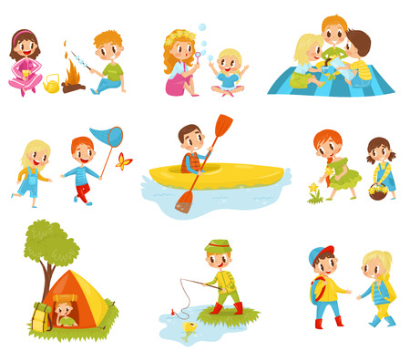 Set of little kids doing different activities. Fishing, cooking marshmallow on fire, picking flowers, kayaking, catching butterfly. Cartoon characters of cute boys and girls. Flat vector illustrations Vettoriali