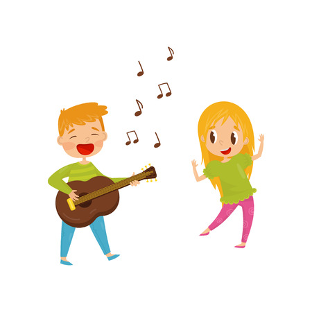 Little boy playing guitar and singing, girl dancing. Cheerful kids having fun together. Cartoon character of brother and sister. Colorful vector illustration in flat style isolated on white background Ilustracja