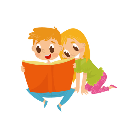 Two little children reading book with fairy tales. Cartoon boy and girl characters. Brother and sister spending time together. Happy childhood. Colorful flat vector illustration isolated on white.