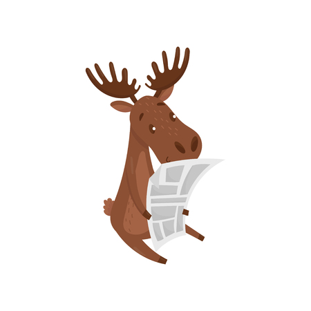 Cute brown moose reading newspaper. Wild forest animal. Eurasian elk with large branched horns. Flat vector design