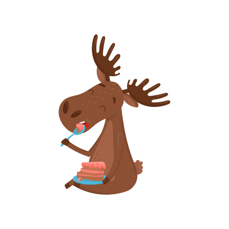 Happy brown moose sitting on floor and eating delicious cake. Wild forest animal. Cartoon character of Eurasian elk with large branched horns. Colorful flat vector design for children book or postcard