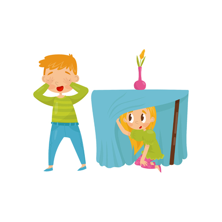 Brother and sister playing hide-and-seek. Girl hiding under table. Boy closing eyes with his hands. Flat vector design