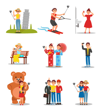 Set of people taking selfies. Young men and women with smartphones and monopods. Friends and girlfriends making pictures for social media. Colorful flat vector design isolated on white background.