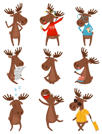 Set of funny brown moose in various actions. Wild forest animal with large branched horns. Cartoon character of Eurasian elk. Design for children book or postcard. Isolated flat vector illustration.