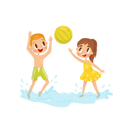 Two little kids playing in water with inflatable ball. Children having fun together. Boy and girl in swimwear. Summer recreation at sea. Outdoor activity. Colorful flat vector design isolated on white Vectores