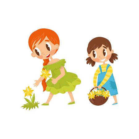 Little kids picking flowers. Cute girl holding basket. Summer recreation. Outdoor activity. Flat vector design Illustration