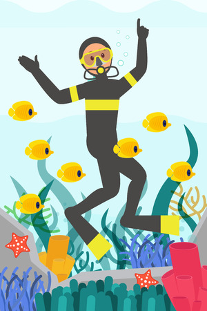 Professional diver swimming underwater surrounded by fishes. Marine life. Beautiful corals reefs. Flat vector design