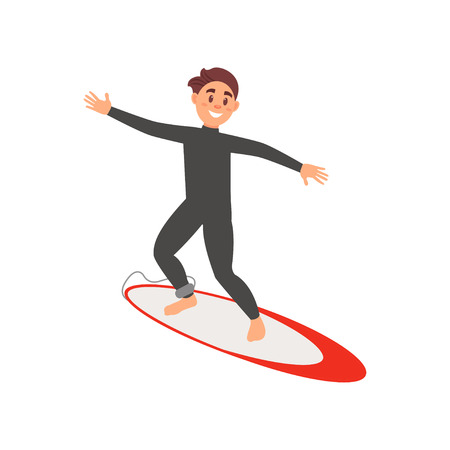 Young male athlete engaged in surfing. Guy on surfboard. Extreme water sport. Colorful flat vector design Illustration
