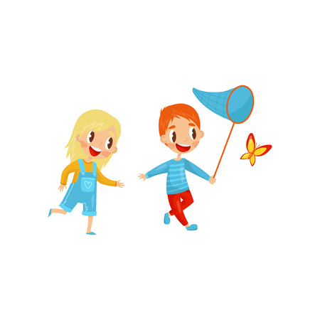 Happy kids catching butterfly. Cute boy and girl. Active summer recreation. Outdoor activity. Flat vector design