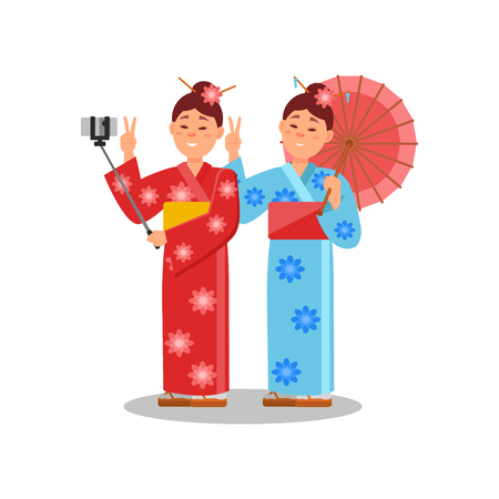 Couple of girls making selfie using smartphone and selfie stick. Two young women in bright kimonos. Flat vector design