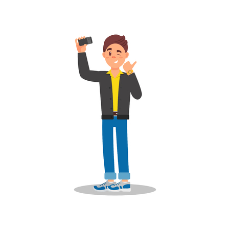 Handsome guy taking selfie with his cell phone. Young man winking eye and showing thumb up. Cartoon male character in jacket, shirt, jeans and sneakers. Colorful flat vector design isolated on white