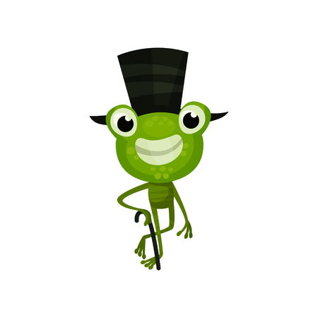 Cheerful frog with black top hat and cane. Funny green toad with happy face expression. Flat vector design for children book